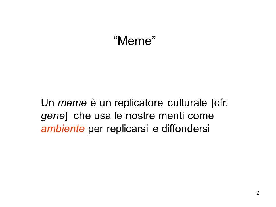 Meme Un meme è un replicatore culturale [cfr.